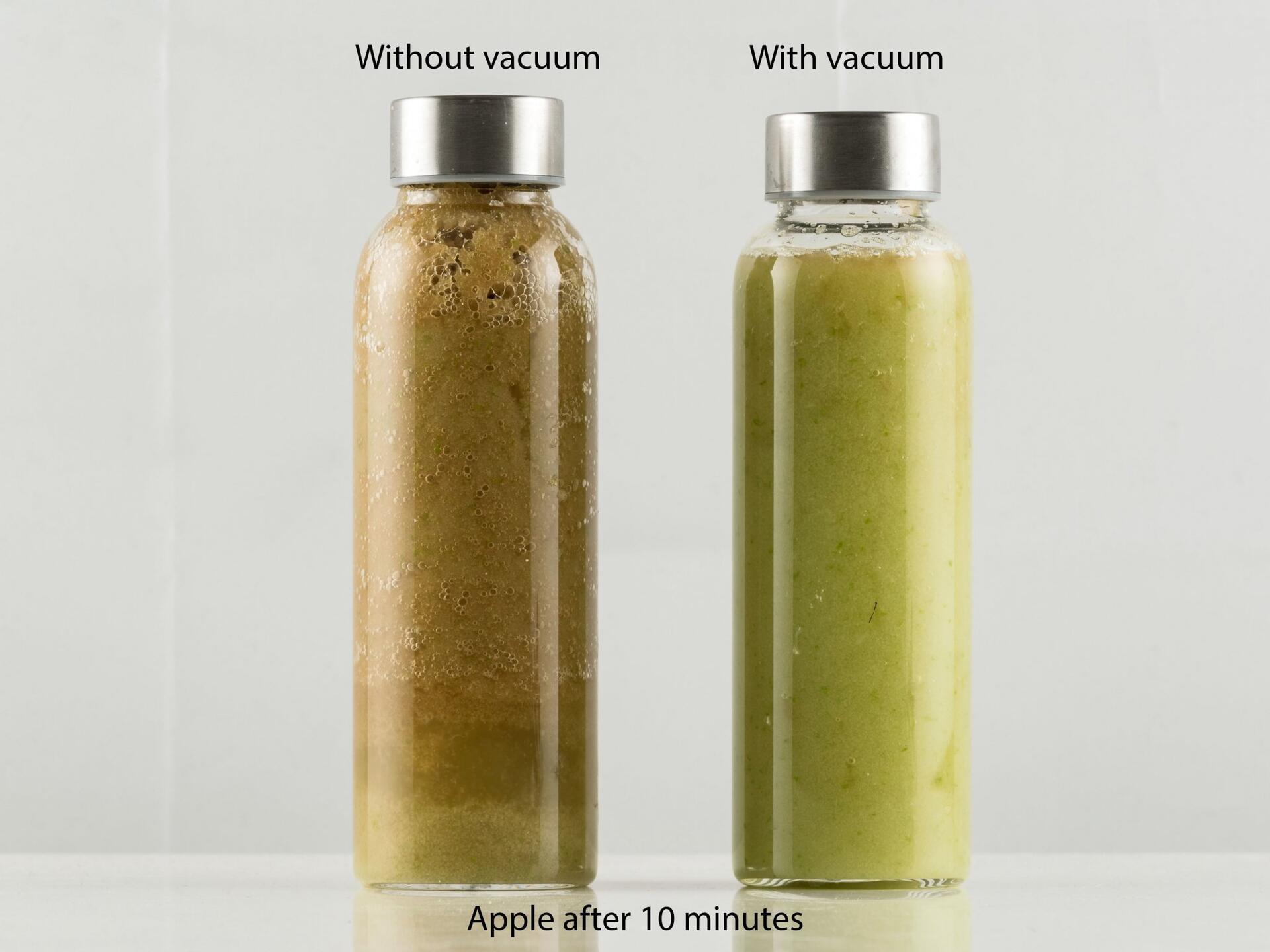 Vidia Vakuum-Standmixer-Test: Apfel nach 10 Minuten Ruhezeit | EUJUICERS.DE