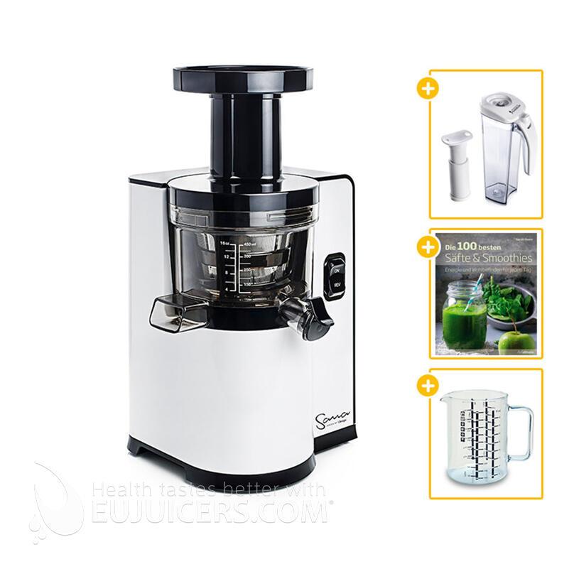 Sana Juicer by Omega EUJ-808 weiß + Saftbehälter mit Vakuumpumpe + Buch Die 100 besten Säfte & Smoothies + Glasbehälter | EUJUICERS.DE