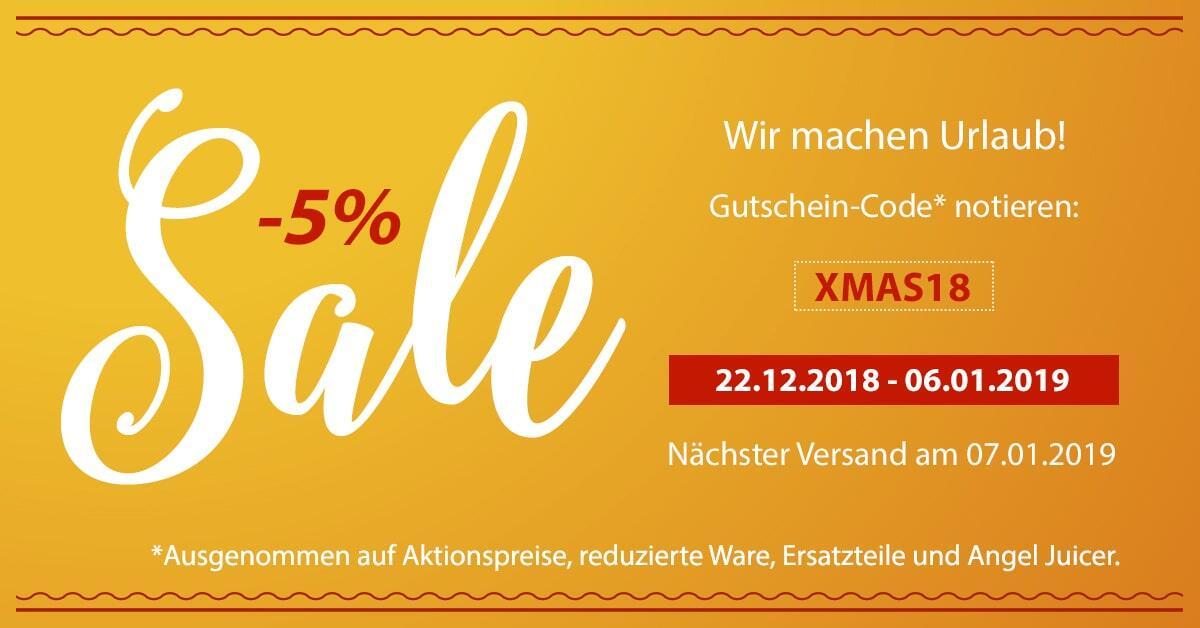 XMAS18 Sale minus 5% | EUJUICERS.DE