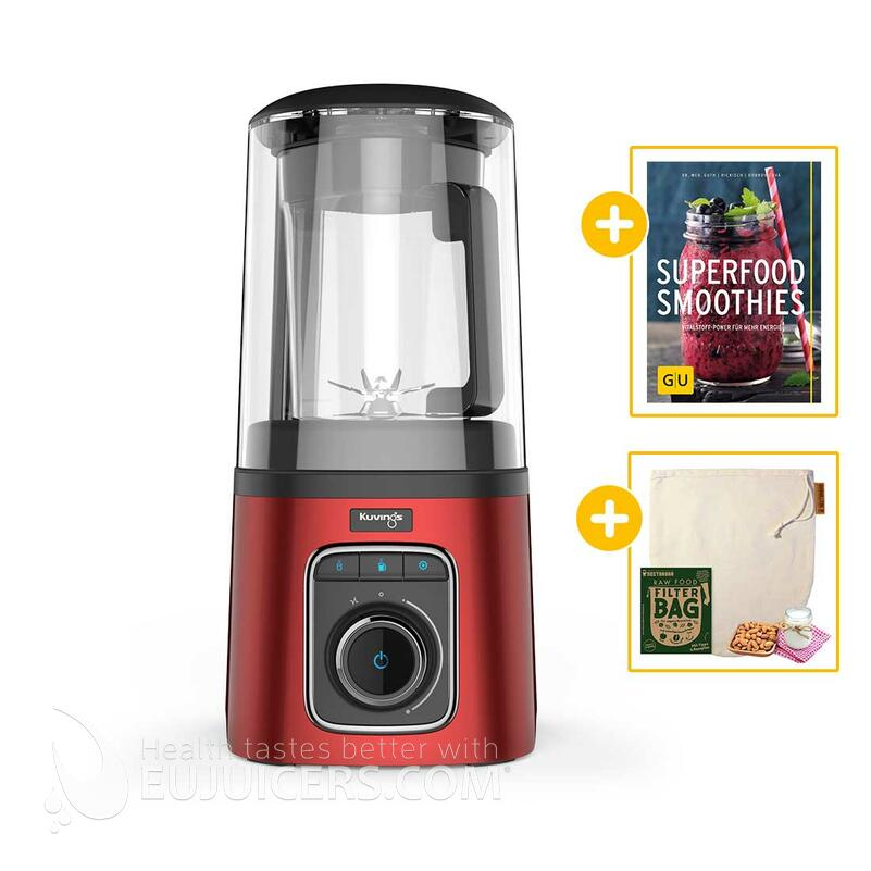 Kuvings SV-500 Vakuum-Standmixer rot + Buch Superfood Smoothies + Nectarbar Nussmilchbeutel | EUJUICERS.DE