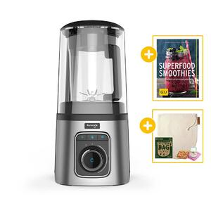 Kuvings SV-500 Vakuum-Standmixer silber + Buch Superfood Smoothies + Nectarbar Nussmilchbeutel | EUJUICERS.DE