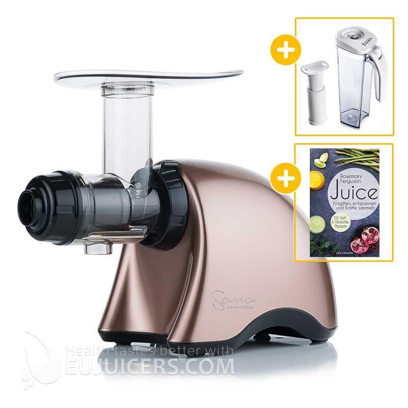 Sana Juicer by Omega EUJ-707 bronze + Vakuum-Saftbehälter inkl. Pumpe + Buch Juice | EUJUICERS.DE