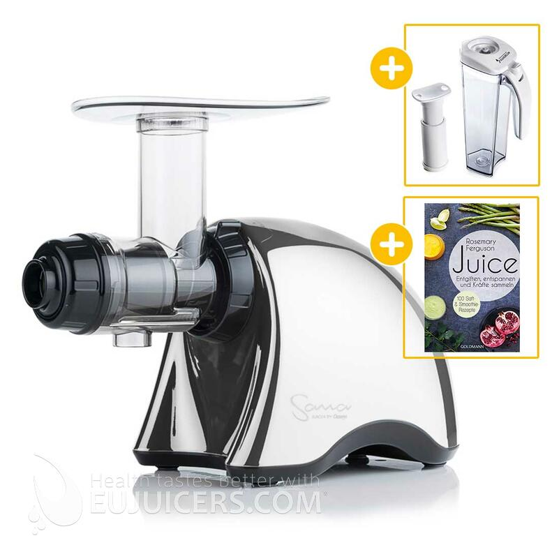 Sana Juicer by Omega EUJ-707 chrom + Vakuum-Saftbehälter inkl. Pumpe + Buch Juice | EUJUICERS.DE
