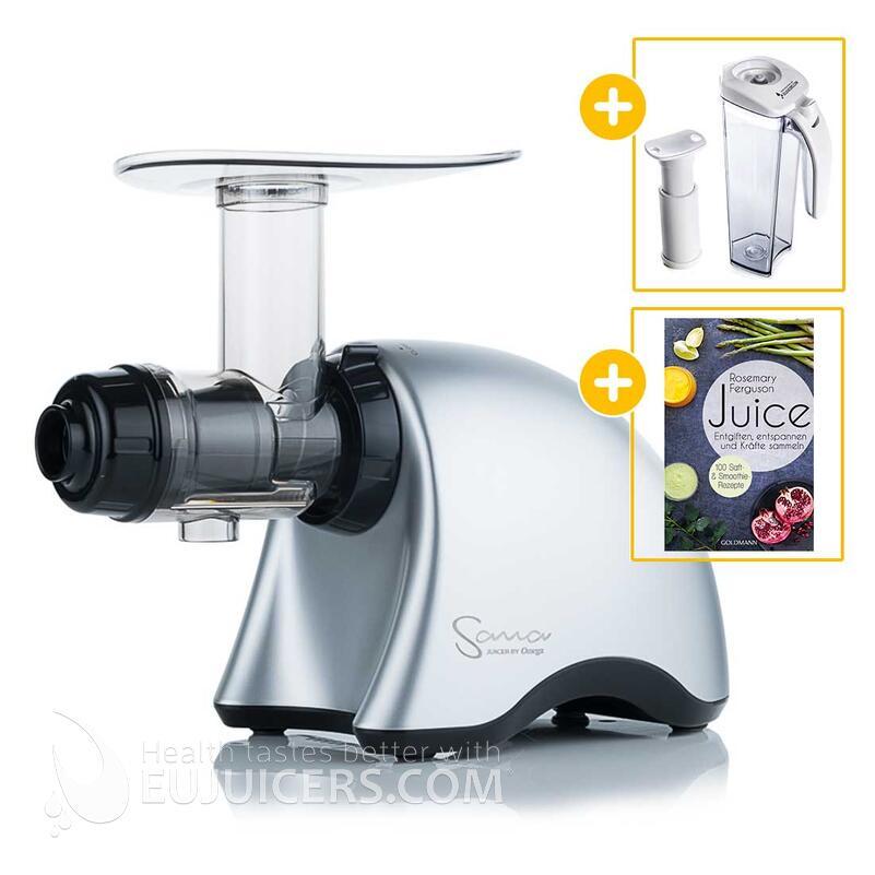 Sana Juicer by Omega EUJ-707 silber + Vakuum-Saftbehälter inkl. Pumpe + Buch Juice | EUJUICERS.DE