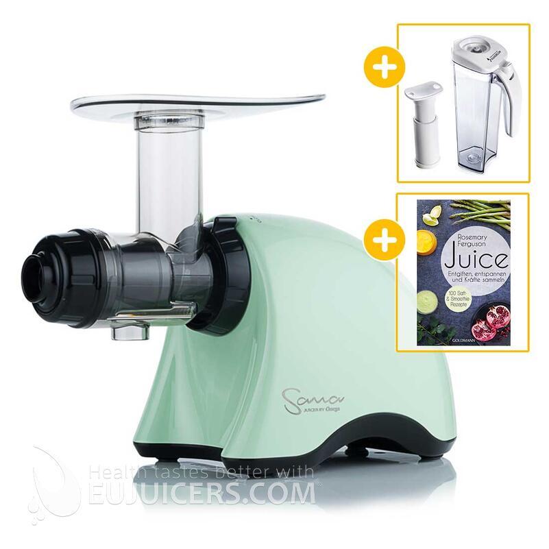 Sana Juicer by Omega EUJ-707 grün + Vakuum-Saftbehälter inkl. Pumpe + Buch Juice | EUJUICERS.DE