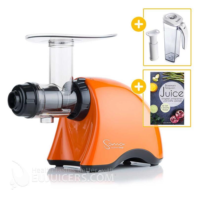 Sana Juicer by Omega EUJ-707 orange + Vakuum-Saftbehälter inkl. Pumpe + Buch Juice | EUJUICERS.DE
