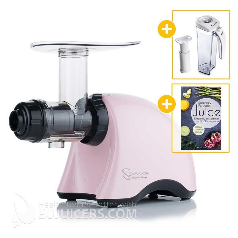 Sana Juicer by Omega EUJ-707 rosa + Vakuum-Saftbehälter inkl. Pumpe + Buch Juice   EUJUICERS.DE