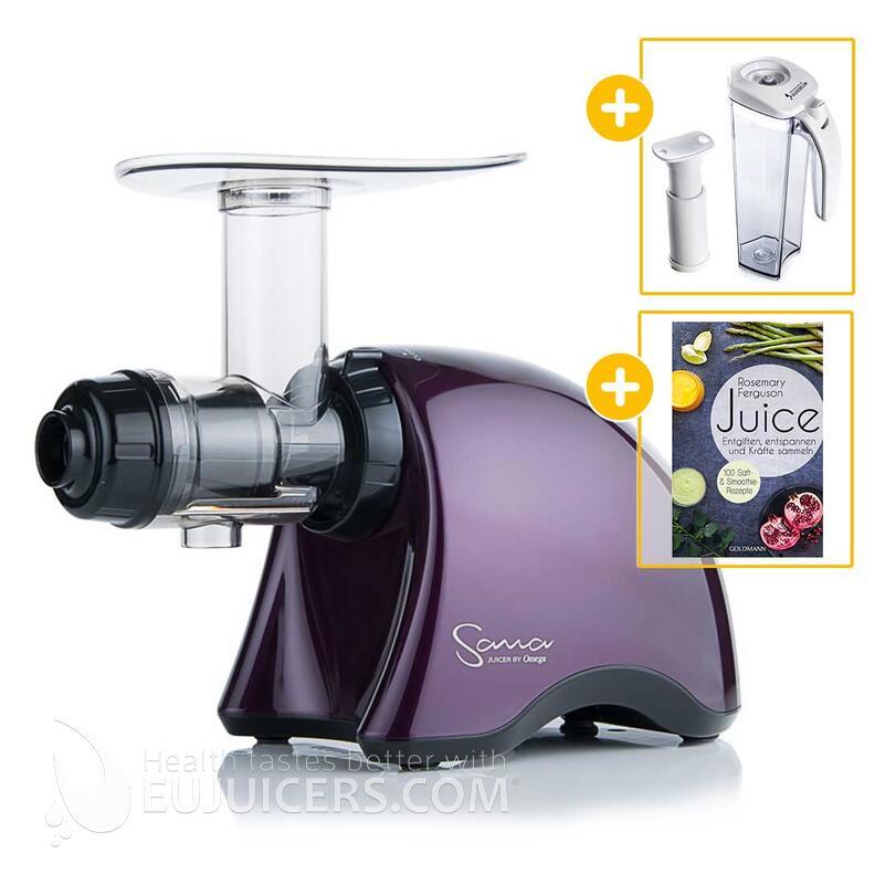 Sana Juicer by Omega EUJ-707 violett + Vakuum-Saftbehälter inkl. Pumpe + Buch Juice | EUJUICERS.DE