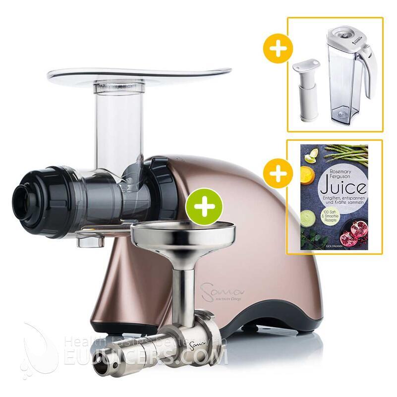 Sana Juicer by Omega EUJ-707 bronze + Ölpresse-Set + Vakuum-Saftbehälter inkl. Pumpe + Buch Juice | EUJUICERS.DE