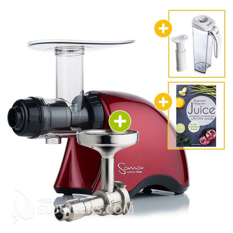 Sana Juicer by Omega EUJ-707 rot + Ölpresse-Set + Vakuum-Saftbehälter inkl. Pumpe + Buch Juice | EUJUICERS.DE