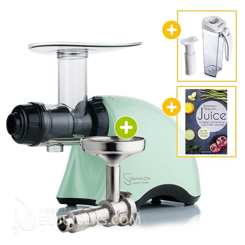 Sana Juicer by Omega EUJ-707 grün + Ölpresse-Set + Vakuum-Saftbehälter inkl. Pumpe + Buch Juice   EUJUICERS.DE