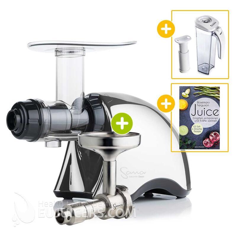 Sana Juicer by Omega EUJ-707 chrom + Ölpresse-Set + Vakuum-Saftbehälter inkl. Pumpe + Buch Juice   EUJUICERS.DE