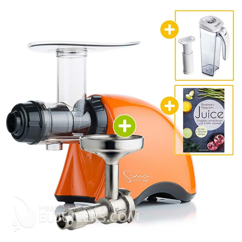 Sana Juicer by Omega EUJ-707 orange + Ölpresse-Set + Vakuum-Saftbehälter inkl. Pumpe + Buch Juice | EUJUICERS.DE