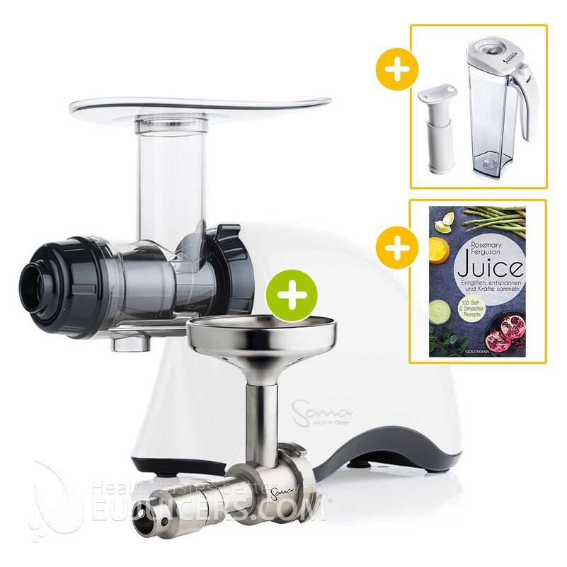 Sana Juicer by Omega EUJ-707 weiß + Ölpresse-Set + Vakuum-Saftbehälter inkl. Pumpe + Buch Juice | EUJUICERS.DE