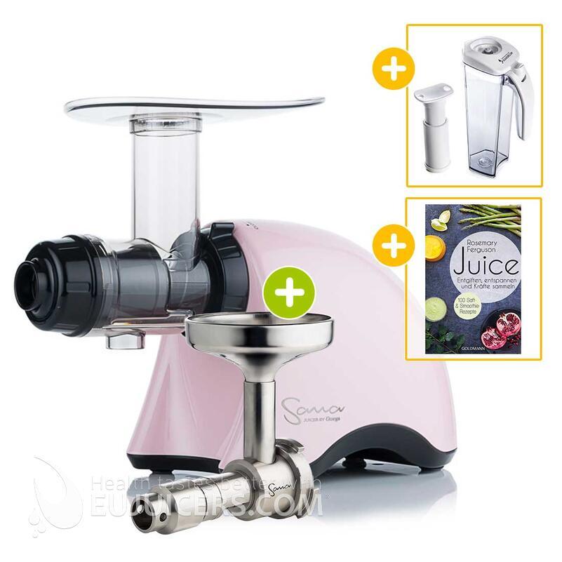 Sana Juicer by Omega EUJ-707 rosa + Ölpresse-Set + Vakuum-Saftbehälter inkl. Pumpe + Buch Juice | EUJUICERS.DE