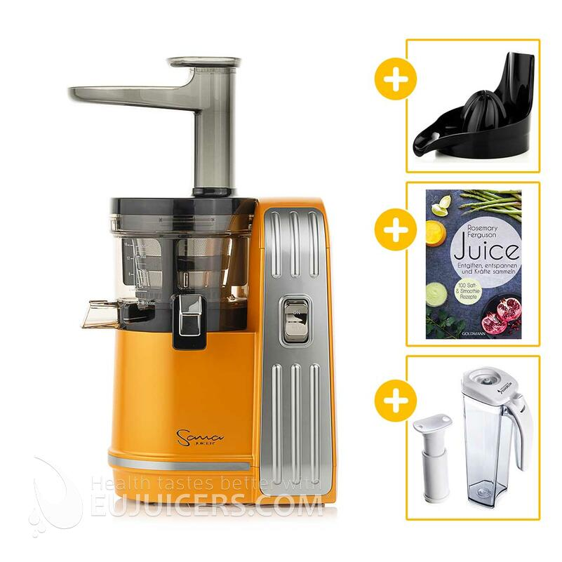 Sana Juicer EUJ-828 orange + Vakuum-Saftbehälter inkl. Pumpe + Buch Juice + Zitruspresse-Aufsatz | EUJUICERS.DE