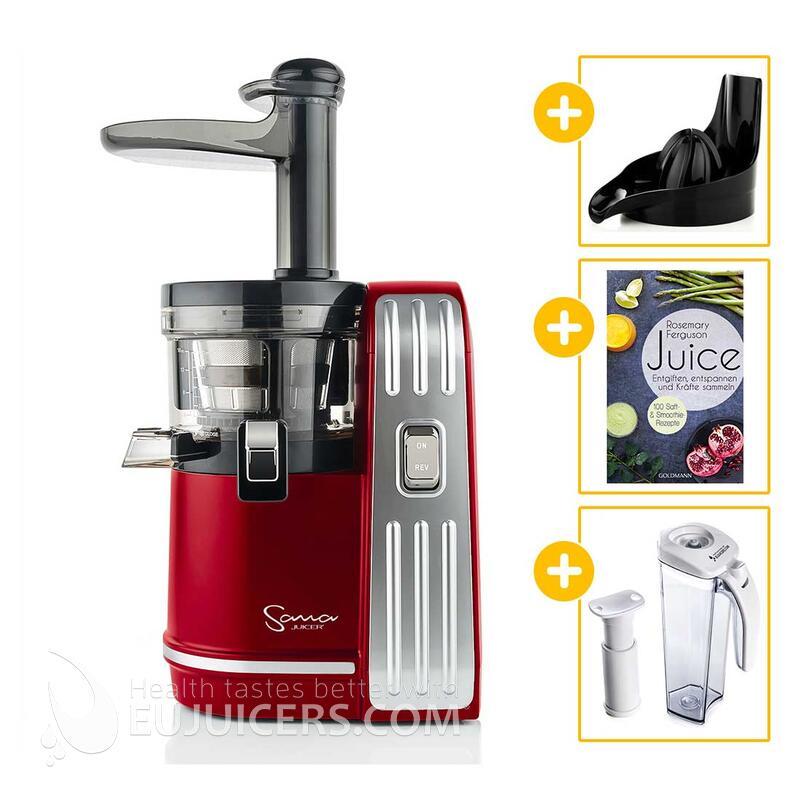 Sana Juicer EUJ-828 rot + Vakuum-Saftbehälter inkl. Pumpe + Buch Juice + Zitruspresse-Aufsatz | EUJUICERS.DE