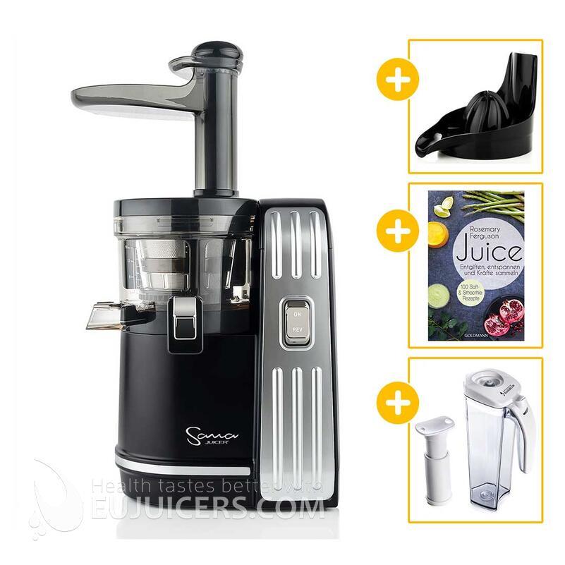 Sana Juicer EUJ-828 schwarz + Vakuum-Saftbehälter inkl. Pumpe + Buch Juice + Zitruspresse-Aufsatz | EUJUICERS.DE