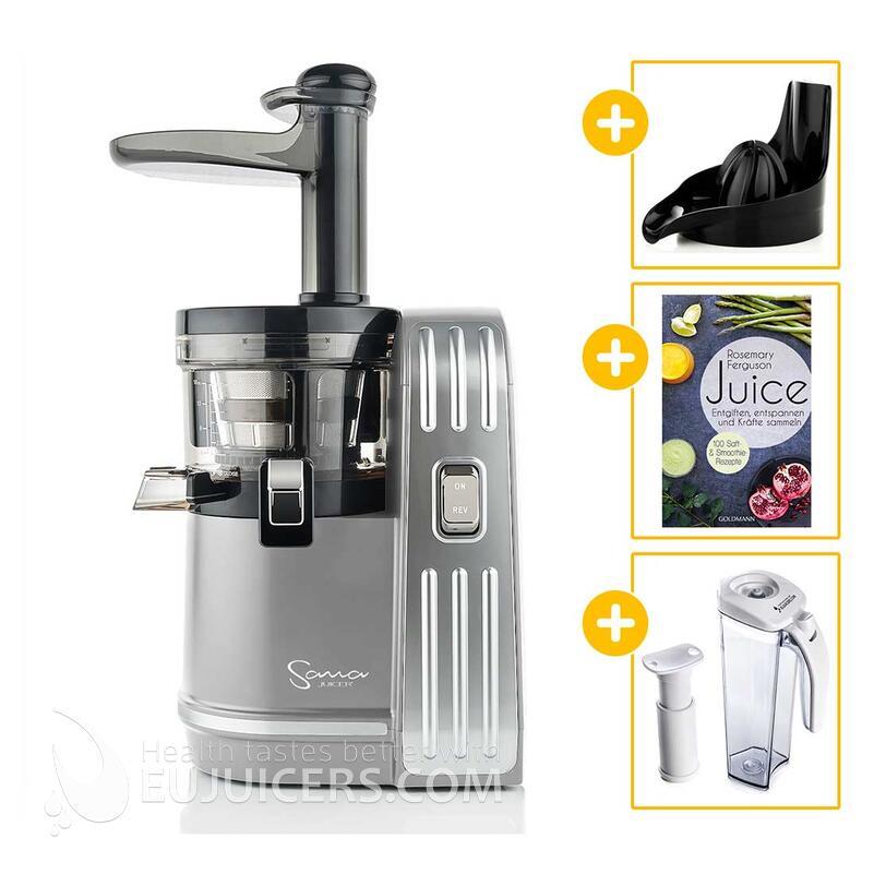 Sana Juicer EUJ-828 silber + Vakuum-Saftbehälter inkl. Pumpe + Buch Juice + Zitruspresse-Aufsatz | EUJUICERS.DE