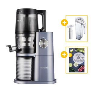 Hurom Slow Juicer H-AI (H34) midnight blue + Vakuum-Saftbehälter mit Pumpe + Buch Juice | EUJUICERS.DE