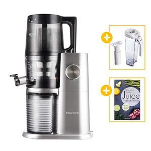 Hurom Slow Juicer H-AI (H34) platinum + Vakuum-Saftbehälter mit Pumpe + Buch Juice | EUJUICERS.DE