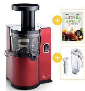 Sana Juicer by Omega EUJ-808 rot + Vakuum-Saftbehälter inklusive Pumpe + Buch Obst- und Gemüsesäfte für die Gesundheit | EUJUICERS.DE