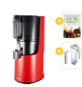 Hurom H200 Slow Juicer rot vorne mit Werbegeschenken | EUJUICERS.DE